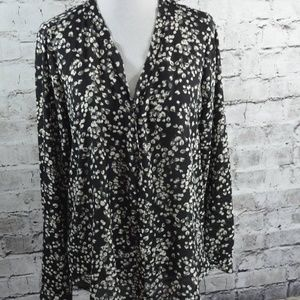 Floral Raw Edge Blouse Hi Low Popover Tunic Top S